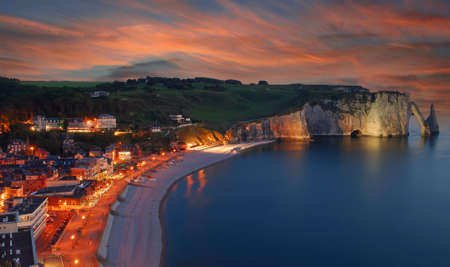 Beach and Village of Etretat,Normandy,France