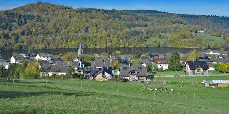 Village of Einruhr at Rursee Reservoir in the Eifel, North Rhine westphalia, Germany