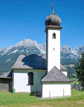 Church in Ellmau with view to Kaisergebirge Mountain,Tirol,Austria