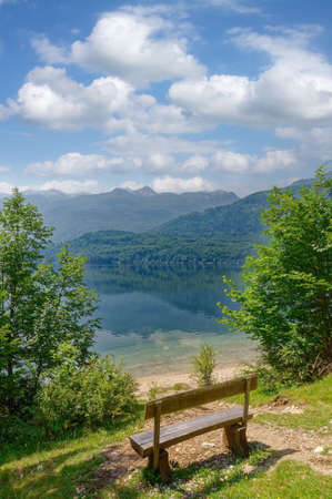 idyllic Place at Lake Bohinj in Triglav National Park,Slovenia Standard-Bild