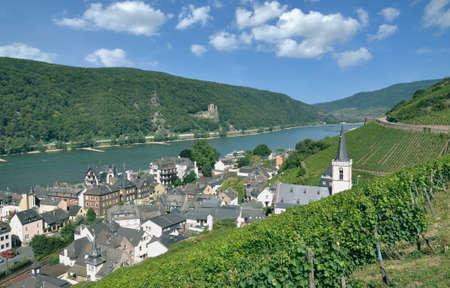 famous Wine Village of Assmannshausen,Part of Ruedesheim am Rhein,Rheingau,Rhine River,Germany Standard-Bild