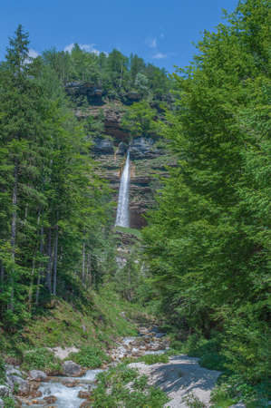view to Pericnik Waterfall in Triglav national Park,Slovenia
