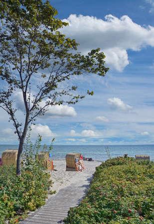 Beach with Beach Chairs at baltic Sea,Schleswig-Hollstein,Germany Standard-Bild