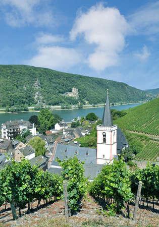famous Wine Village of Assmannshausen in Rheingau at Rhine River,Germany