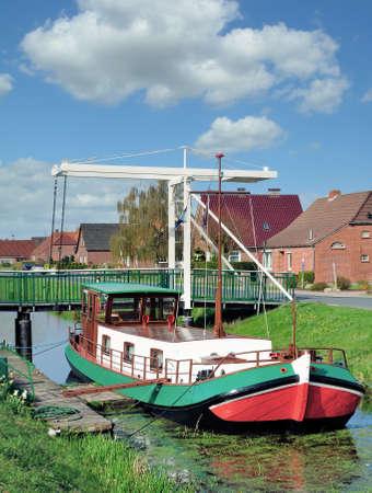 Moorland Canal called Fehnkanal in East Frisia,lower Saxony,Germany Standard-Bild