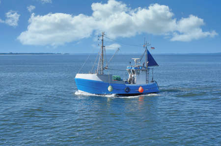 Trawler on Schaproder Bodden,a Lagoon at baltic Sea near Hiddensee,Germany