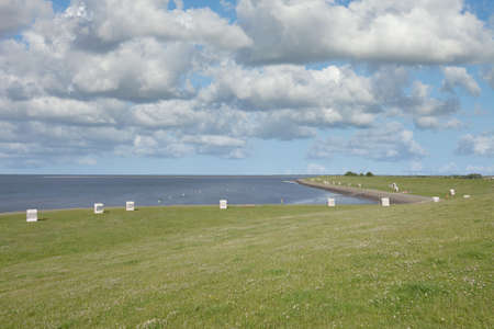 Beach of Vollerwiek at North Sea,North frisia,Eiderstedt Peninsula,Schleswig-Holstein,Germany