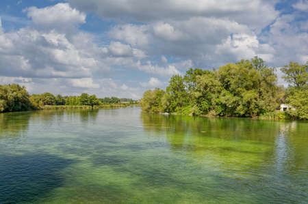 Alz River,Seebruck,Chiemsee,Bavaria,Germany Standard-Bild