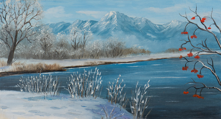 Pintura al óleo sobre lienzo de un lago en invierno con montañas al fondo