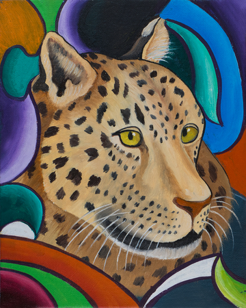 Oil painting of the head of a leopard against a colourful background