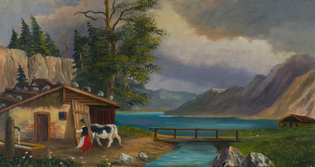 Oil painting - woman brings the cow into the stable at a lake Stockfoto