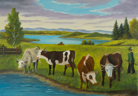 Painting with oil paints of different cows standing to drink at the water