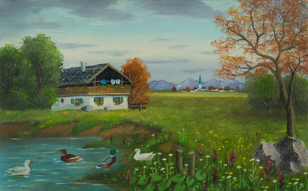 Oil painting of three ducks swimming in a pond in front of a farm with a community and the mountains in the background Stockfoto
