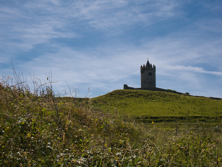 Lush meadow and in the background the tower of Doonagore Castle in Ireland Stock Photo