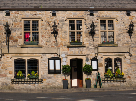 Restaurant in a stone-built house in the town of Donegal Stock Photo