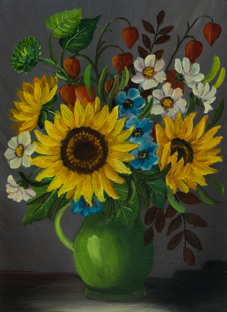 Oil painting of a green vase with different coloured flowers
