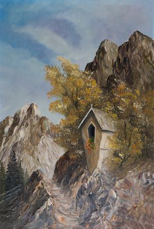 Dipinto ad olio - Un'edicola in montagna tra due alberi Archivio Fotografico