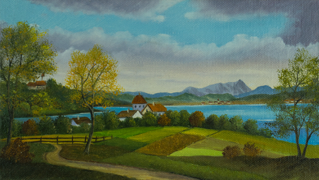 Oil painting - landscape with fields and a small village at the lake Фото со стока