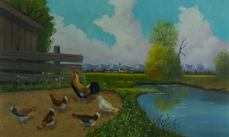 Oil painting - Five chickens and a big tap next to the water