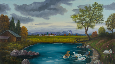 Oilpainting with ducks in a pond near a village behind a meadow