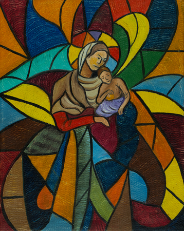 Oil painting - Painted window from glass mosaic with woman and child Foto de archivo