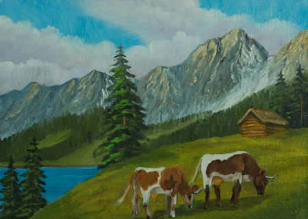 Oil painting - Mountain landscape with cows on a green meadow Standard-Bild