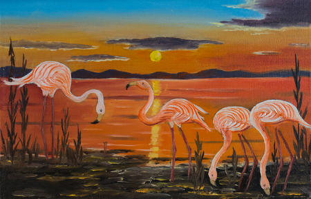 Oil picture of four flamingos on a shore at sunset