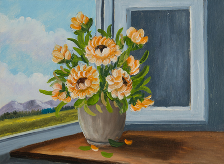 Still life with oil paints - Orange flowers at the window in a beige vase