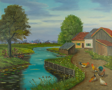 Oil painting of free-range chickens and a cock on a path beside the river Standard-Bild
