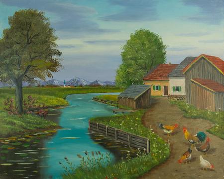 Pintura al óleo de gallinas de corral y un gallo en un camino junto al río
