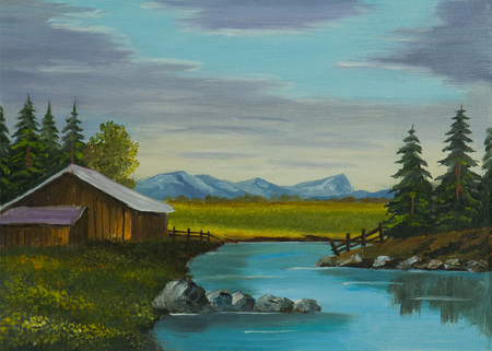 Oil painting - river next to a wooden barn with a meadow and mountains in the background