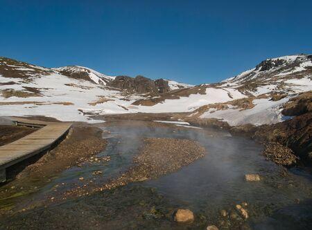 Clear glacier water and geothermal springs in Reykjadalur Reklamní fotografie