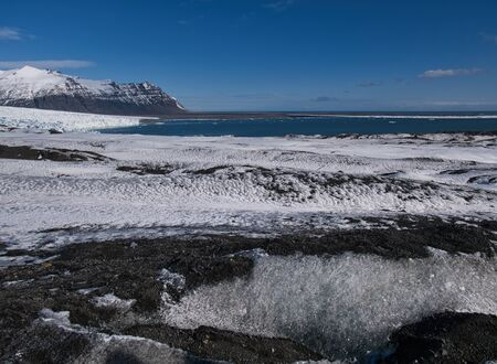 View from the glacier to the big glacier lagoon in Iceland