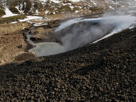 A mud pot from the hot springs in Iceland near Reykjadalur