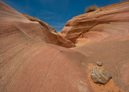 A rocky landscape with bizarre shapes and colourful lines Banco de Imagens