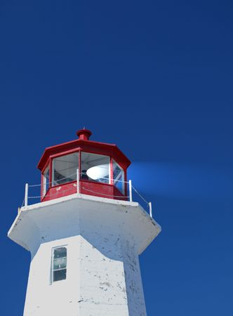 Lighthouse top with light    photo
