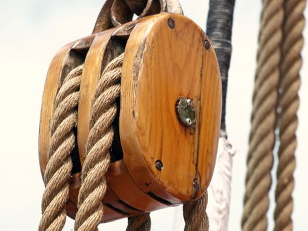 Wooden rigging  Stock Photo