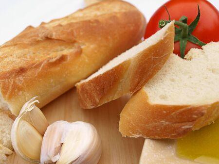 パン ニンニク トマト 写真素材