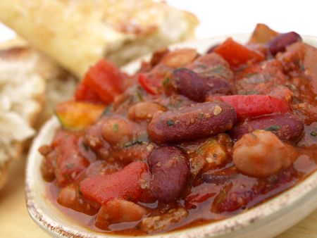 Bowl of chili with beans and tomatoes Stock Photo