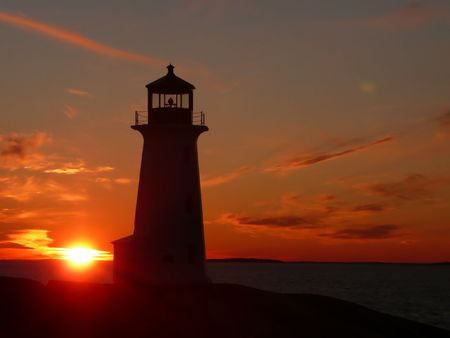 Scenic lighthouse at sunset
