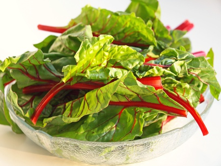 Bowl of swiss chard Stock Photo