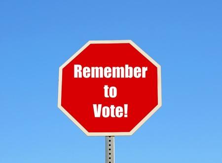 Remember to vote Stock Photo - 9421504