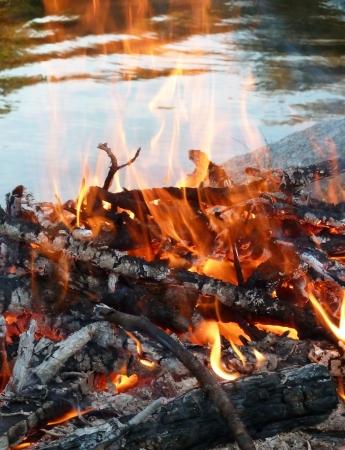 屋外の火の湖の湖岸に近い燃焼