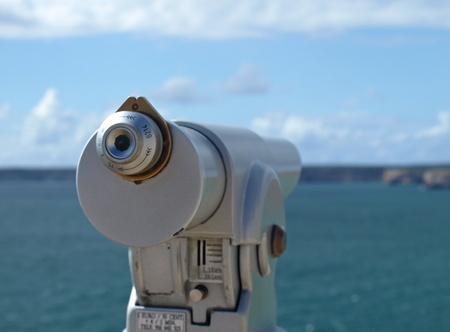 Optical view finder looking at the sea and cliffs at Cabo de Sagres, Portugal