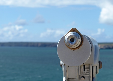 optical instrument: Optical view finder looking at the sea and cliffs at Cabo de Sagres, Portugal