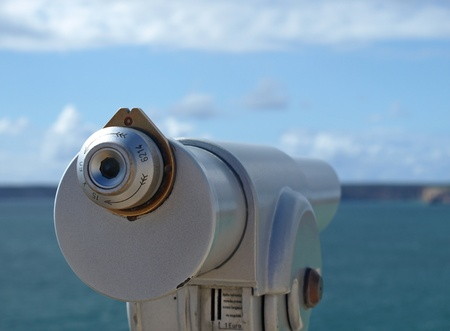 Optical viewfinder looking at the sea and cliffs at Cabo de Sagres, Portugal