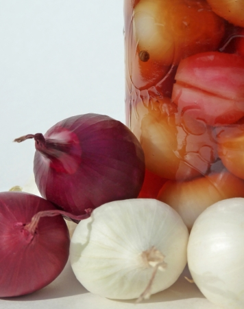 Jar and onions Stock Photo