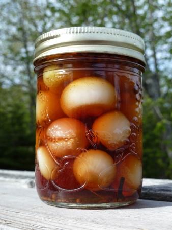 Jar of onions outside