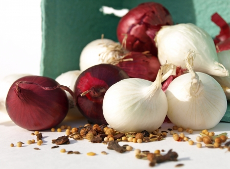 Mixed onions with spices Stock Photo