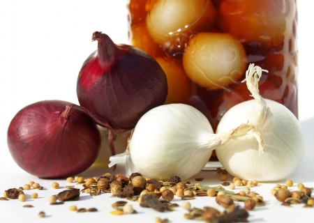 Onions, spices and a jar